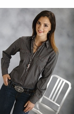 Roper Women's Long Sleeve Print Western Snap Shirt - Black (Closeout)