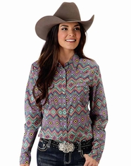Roper Women's Long Sleeve Print Western Snap Shirt - Blue