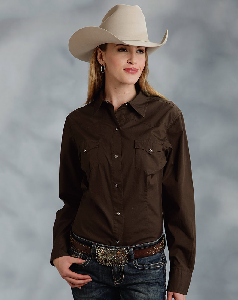 Women's Long Sleeve Solid Western Snap Shirt - Brown