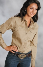 Roper Women's Long Sleeve Solid Western Snap Shirt - Khaki