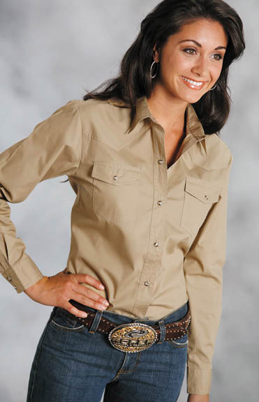 Roper Women's Long Sleeve Solid Western Snap Shirt - Khaki (Closeout)