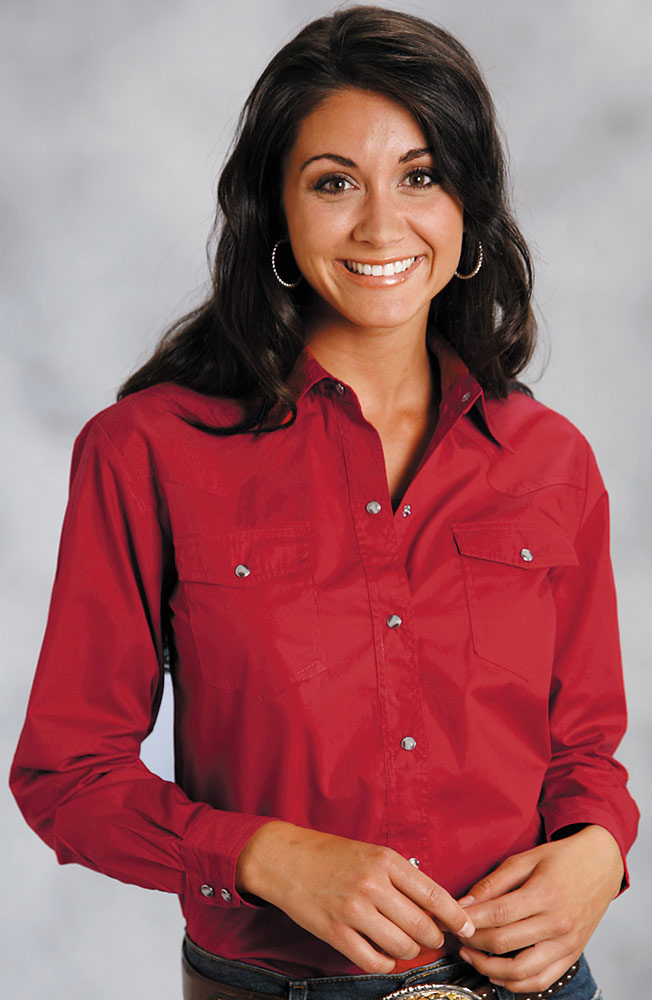 Roper Women's Long Sleeve Solid Western Snap Shirt (Red)