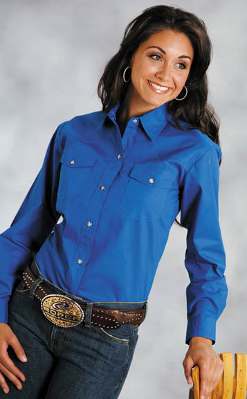 Roper Women's Long Sleeve Solid Western Snap Shirt - Royal