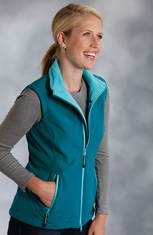Roper Women's Rangewear Fleece Lined Softshell Vest - Blue (Closeout)