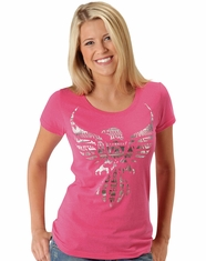 Roper Women's Short Sleeve Eagle Print Tee Shirt - Pink