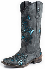 Roper Womens Blue Metallic Underlay Square Toe Boots - Black Sanded