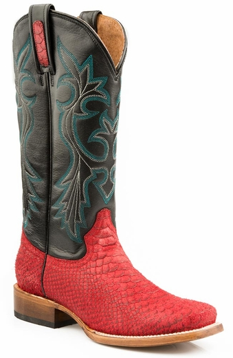 Roper Womens Python Print Square Toe Cowboy Boots - Red/Black (Closeout)
