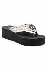 Roper Womens Crackled Metallic Horseshoe Wedge - Silver (Closeout)