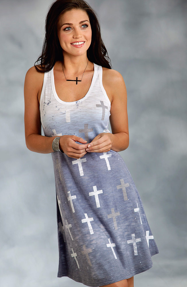 Roper Womens Cross Tank Dress - Blue (Closeout)