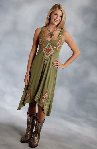 Roper Womens Hi Low Tank Dress - Green