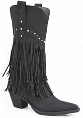 Roper Womens Faux Leather Fringe Western Cowboy Boots with Studded Accents - Black