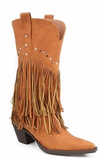 Roper Womens Faux Leather Fringe Western Cowboy Boots with Studded Accents - Tan (Closeout)