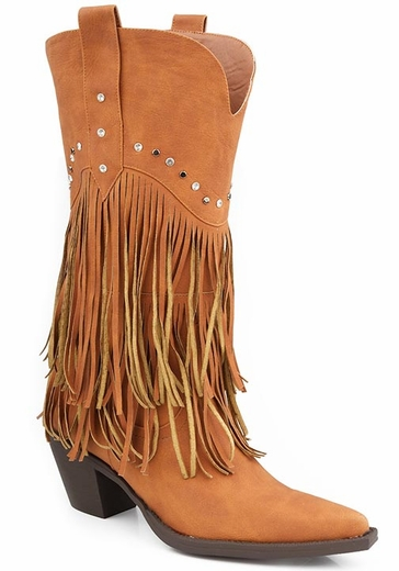 Roper Womens Faux Leather Fringe Western Cowboy Boots with Studded Accents - Tan