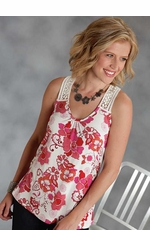 Roper Womens Floral Tank Top with Lace Straps and Back - Red