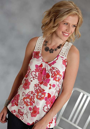 Roper Womens Floral Tank Top with Lace Straps and Back - Red (Closeout)