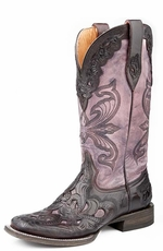 Roper Womens Handtooled Wingtip Western Cowboy Boots - Antique Violet (Closeout)