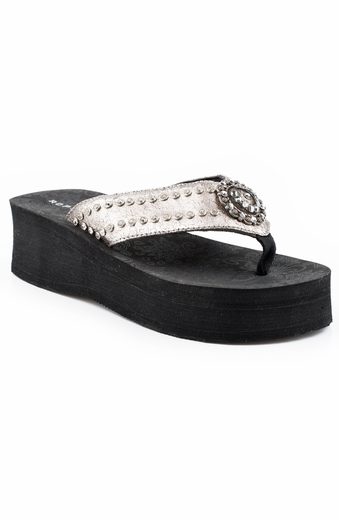 Roper Womens Crackled Metallic Horseshoe Wedge - Silver
