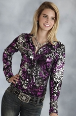 Roper Womens Long Sleeve Leopard Print Snap Western Shirt - Black/Purple