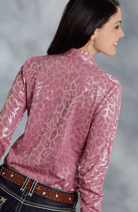 Roper Womens Long Sleeve Metallic Leopard Snap Western Shirt - Pink