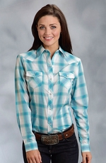Roper Womens Long Sleeve Plaid Snap Western Shirt - Blue