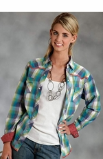 Roper Womens Long Sleeve Plaid Western Snap Shirt - Blue