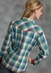 Roper Womens Long Sleeve Plaid Western Snap Shirt - Blue (Closeout)