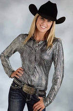 Roper Womens Long Sleeve Snap Show Western Shirt - Silver
