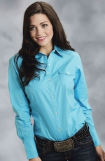 Roper Womens Long Sleeve Solid Button Down Western Shirt - Turquoise
