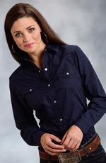Roper Womens Long Sleeve Solid Embroidered Snap Western Shirt - Blue