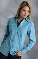 Roper Womens Long Sleeve Solid Snap Western Shirt - Turquoise (Closeout)