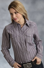 Roper Womens Long Sleeve Stripe Snap Western Shirt - Grey