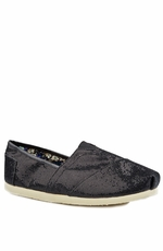 Roper Womens Metallic Ballerina Slipper Shoe - Black (Closeout)