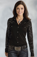Roper Womens Sequin Yokes and Sleeves Snap Western Shirt - Black