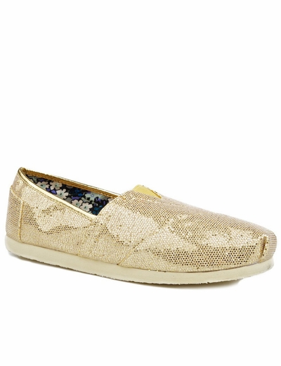 Roper Womens Metallic Ballerina Slipper Shoes - Gold (Closeout)