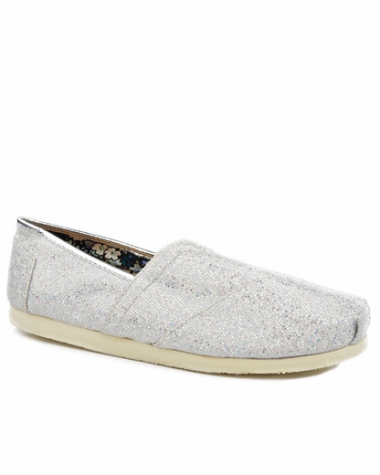 Roper Womens Metallic Ballerina Slipper Shoes - Silver (Closeout)