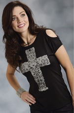 Roper Womens Short Sleeve Cold Shoulder Cross Tee Shirt - Black