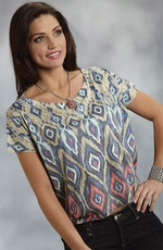 Roper Womens Short Sleeve Tribal Print Boxy Top - Blue (Closeout)