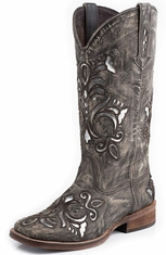 Roper Womens Silver Underlay Square Toe Cowboy Boots - Brown Sanded