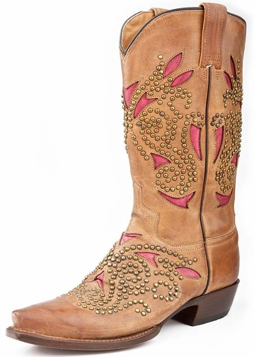 Roper Womens Snip Toe Western Cowboy Boots with Underlay and Rivets - Brown (Closeout)