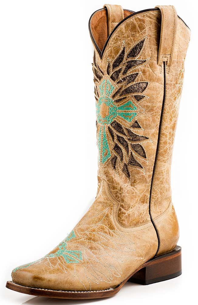 Roper Womens Turquoise Cross Square Toe Cowboy Boots