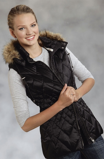 Roper Womens Quilted Vest with Faux Fur Trim and Detachable Hood - Black