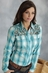 Roper Five Star Mountain Gem Womens Long Sleeve Lattice Yoke Plaid Western Shirt - Blue