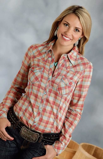 Roper Womens Long Sleeve Plaid Snap Western Shirt