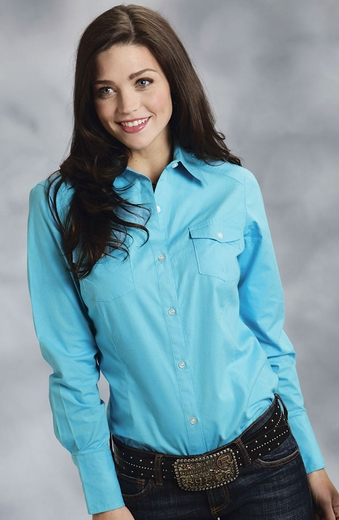 Roper Womens Long Sleeve Solid Button Down Western Shirt - Turquoise (Closeout)