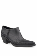 Roper Womens Western Zip Ankle Boot with Embroidery - Black