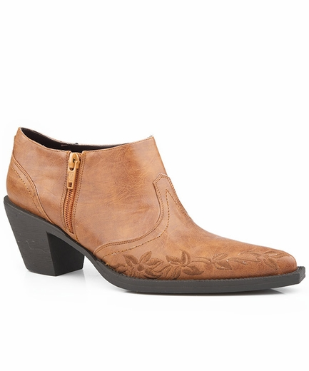 Roper Womens Western Zip Ankle Boot with Embroidery - Tan
