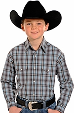 Rough Stock Boys Long Sleeve Plaid Snap Western Shirt - Blue (Closeout)