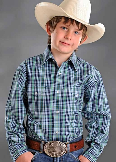 Rough Stock Boys Long Sleeve Plaid Western Snap Shirt - Blue/Green