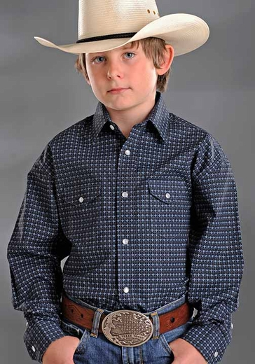 Rough Stock Boys Long Sleeve Vintage Print Western Snap Shirt - Black