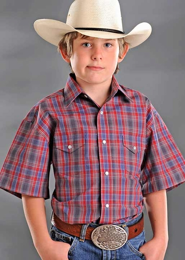 Rough Stock Boys Short Sleeve Plaid Western Snap Shirt